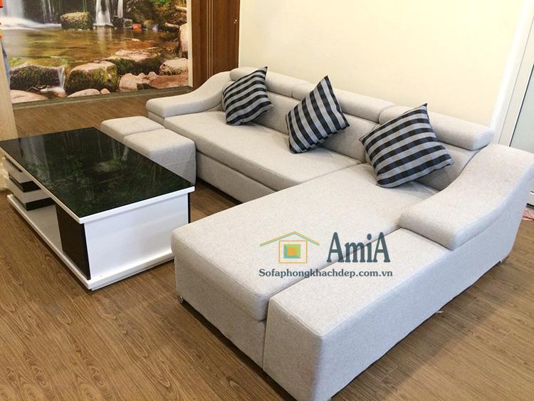 Hình ảnh Mẫu ghế sofa nỉ phòng khách thiết kế hình chữ L đẹp hiện đại