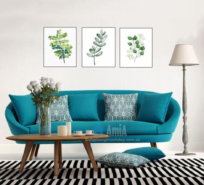 Hình ảnh Mẫu ghế sofa văng nhỏ đẹp thiết kế hiện đại kết hợp bàn trà sofa gỗ