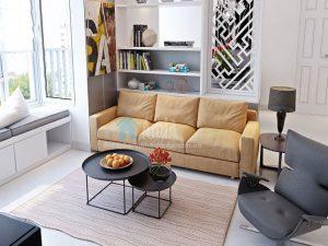 Hình ảnh ghế sofa văng nỉ 3 chỗ đẹp hiện đại