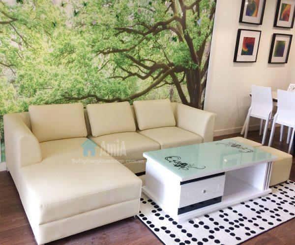 Hình ảnh Mẫu ghế sofa da phòng khách bài trí tại nhà khách hàng