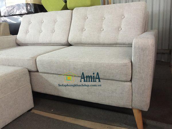 Hình ảnh Mẫu ghế sofa văng nỉ 2 chỗ đẹp với phần chân đế cao