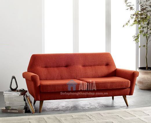 Hình ảnh Mẫu sofa văng nhỏ đẹp 2 chỗ gam màu đỏ nổi bật, hiện đại