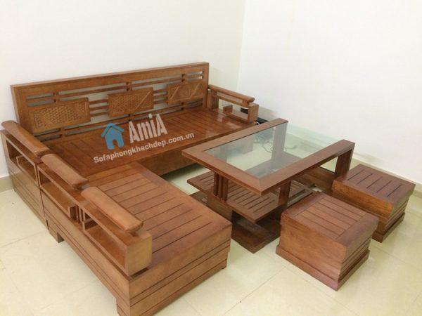 Hình ảnh Mẫu ghế sofa gỗ phòng khách đẹp với hình ảnh thực tế tại nhà khách hàng
