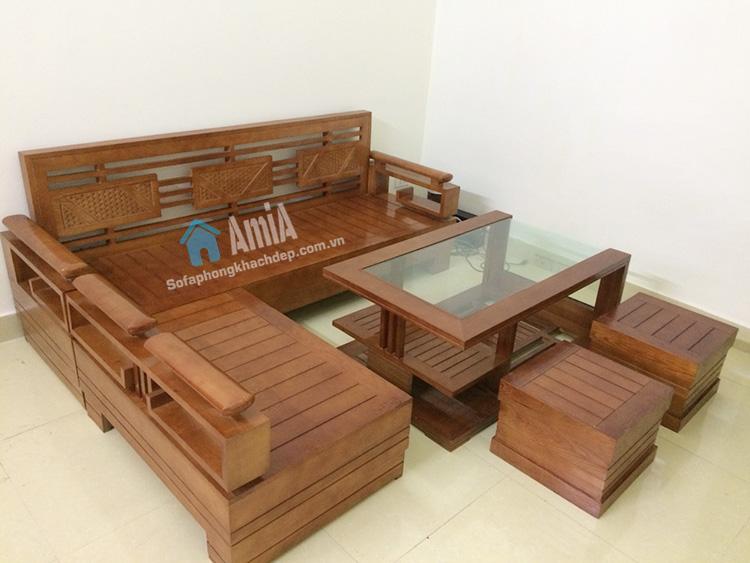 Bộ Ban Ghế Sofa Gỗ Phong Khach Hiện đại Gia Rẻ Amia Sfg016