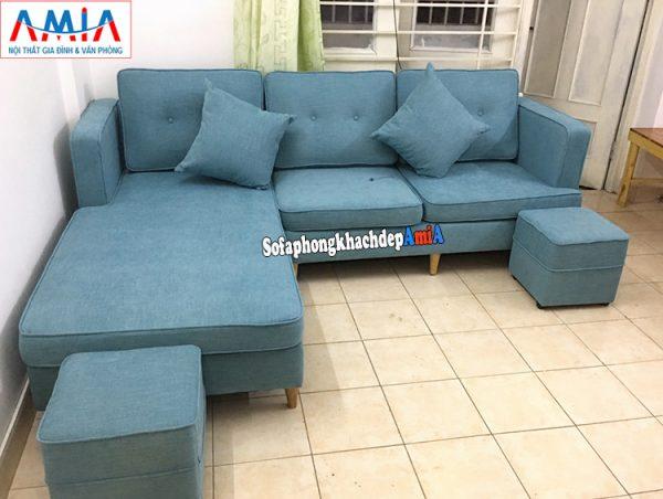 Hình ảnh Mẫu ghế sofa nỉ cho phòng khách đẹp thiết kế hình chữ L 3 chỗ hiện đại