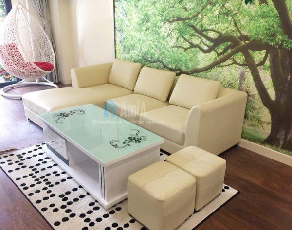 Hình ảnh Sopha da phòng khách hiện đại bài trí trong căn phòng đẹp kết hợp bàn trà sofa