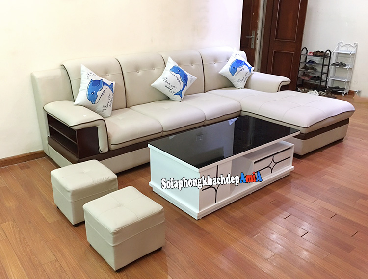 Hình ảnh Mẫu sofa da đẹp hình chữ L cho phòng khách rộng