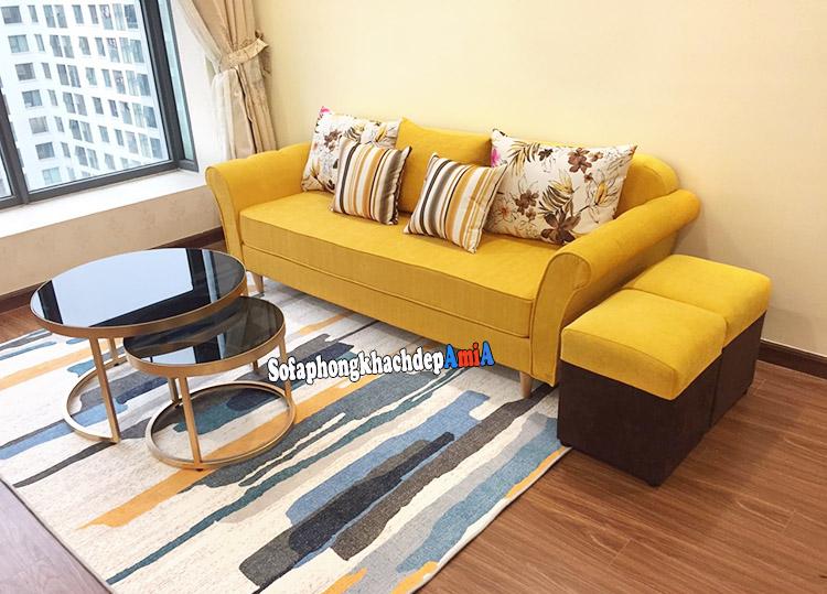 Hình ảnh chụp thực tế mẫu sofa nỉ đẹp hiện đại cho phòng khách chung cư thiết kế dạng sofa văng nhỏ
