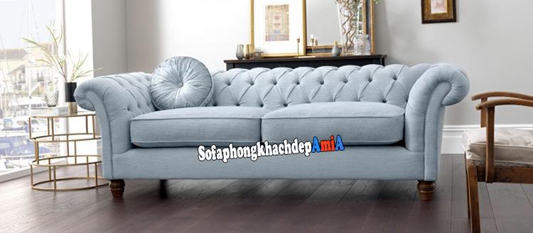 Hình ảnh Ghế sofa nỉ nhỏ đẹp phòng khách nhỏ thiết kế dạng văng kiểu tân cổ điển rất đẹp, sang trọng và thời thượng