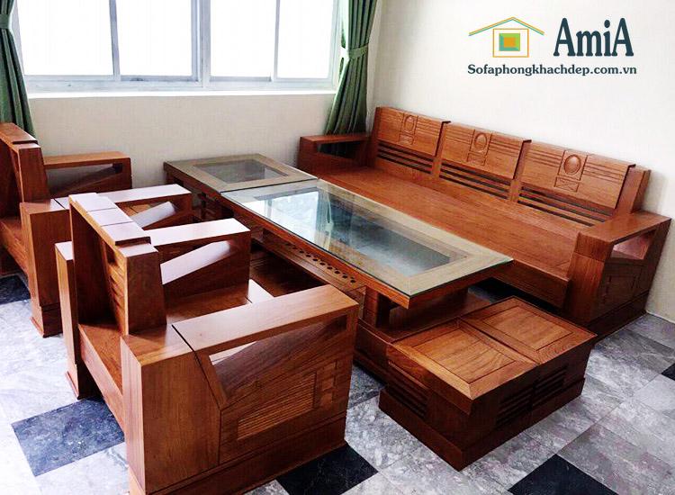 Hình ảnh Bàn ghế sofa gỗ đẹp với hình ảnh thực tế tại nhà khách hàng