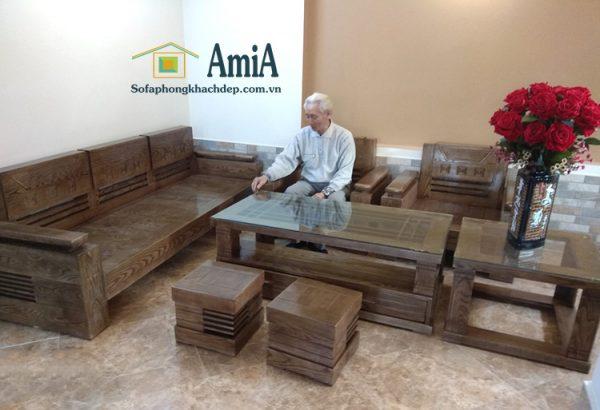 Hình ảnh bàn ghế sofa gỗ giá rẻ chụp thực tế tại nhà khách hàng AmiA