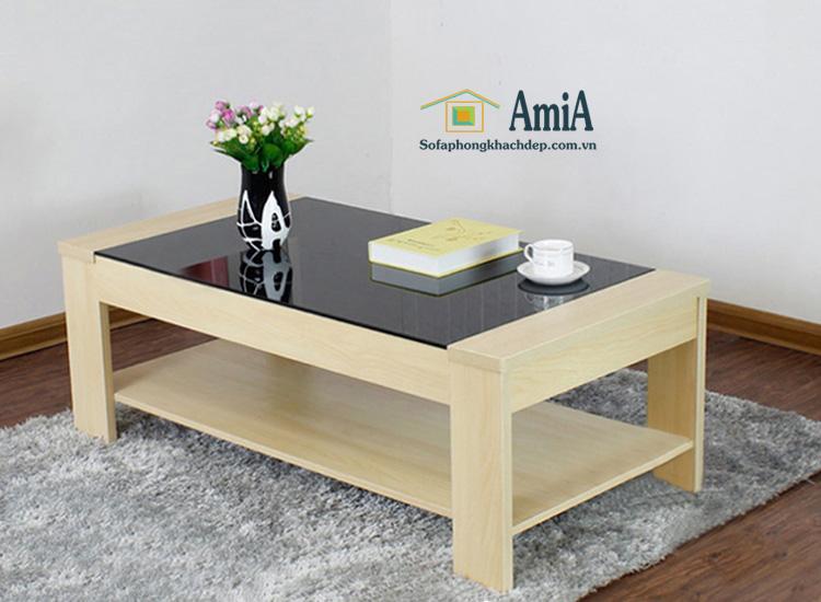 Hình ảnh Bàn trà gỗ kính đẹp thiết kế đơn giản cho căn phòng khách nhỏ xinh