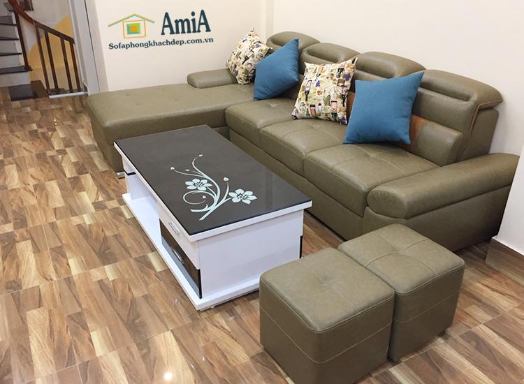 Hình ảnh Bàn trà kính đẹp Hà Nội phối kết hợp cùng bộ ghế sofa phòng khách đẹp