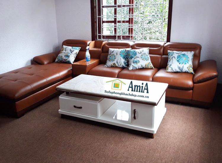 Hình ảnh Bàn trà sofa đẹp Hà Nội kết hợp cùng ghế sofa phòng khách đẹp