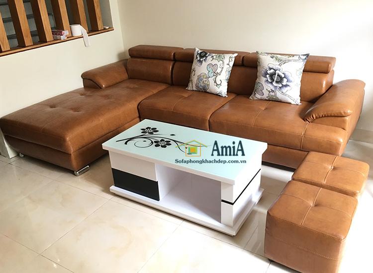 Hình ảnh Bàn trà sofa tại Hà Nội thiết kế mặt kính đẹp kết hợp ghế sofa da góc