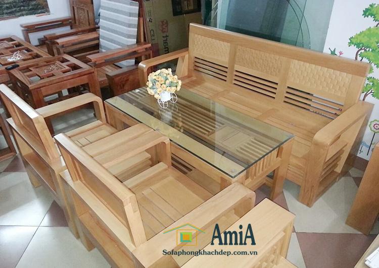 Hình ảnh Bộ bàn ghế gỗ phòng khách đẹp hiện đại giá rẻ tại AmiA