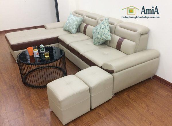Hình ảnh Bộ ghế sofa da chữ L đẹp cho phòng khách hiện đại