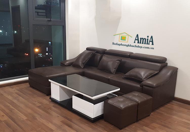 Hình ảnh Bộ ghế sofa da đẹp hiện đại cho phòng khách căn hộ chung cư