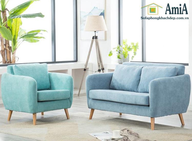 Hình ảnh Các mẫu sofa văng đẹp gam màu xanh nhã nhặn