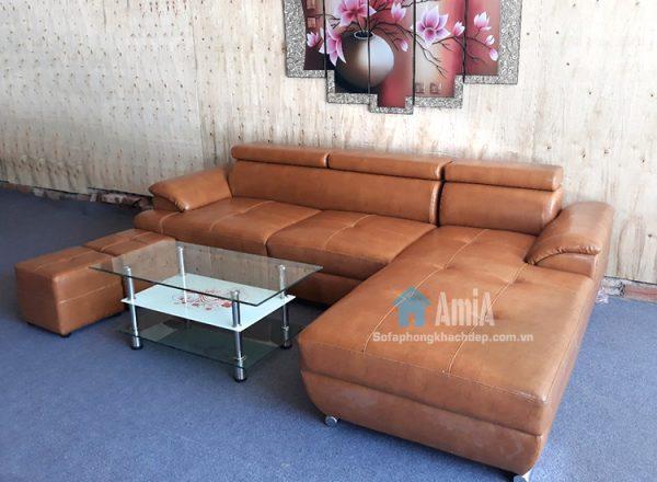 Hình ảnh mMẫu ghế sofa da phòng khách chữ L đẹp hiện đại