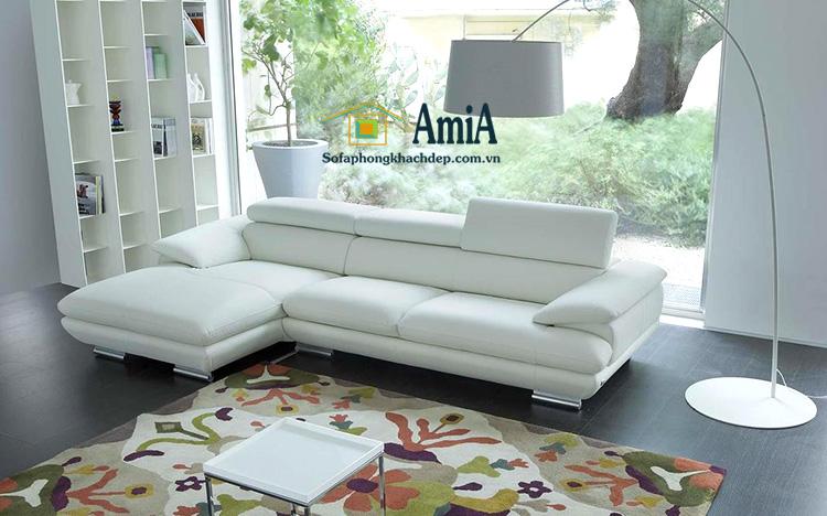 Hình ảnh ghế sofa da phòng khách đẹp thiết kế hình chữ L hiện đại