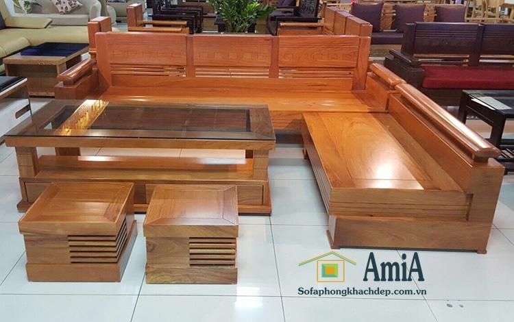 Hình ảnh Ghế sofa gỗ góc hình chữ L đẹp hiện đại và sang trọng