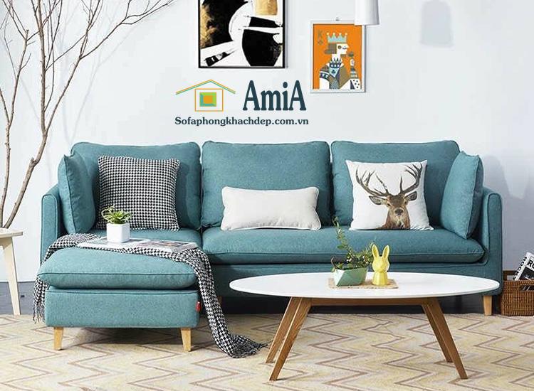 Hình ảnh Ghế sofa nỉ chữ L màu xanh đẹp hiện đại thiết kế 3 chỗ