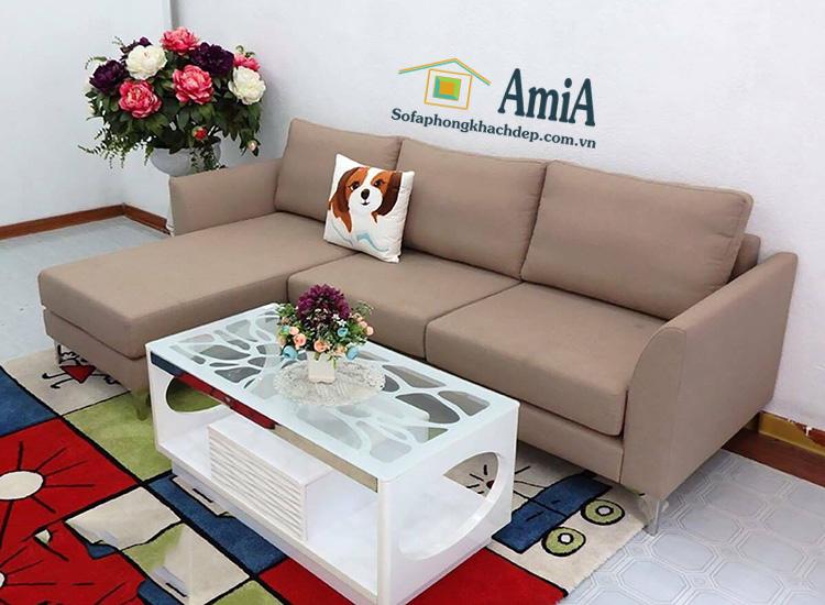 Hình ảnh Ghế sofa nỉ đẹp chữ L thiết kế hiện đại 3 chỗ nhỏ xinh