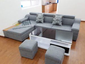 Hình ảnh Ghế sofa nỉ phòng khách hình chữ L bài trí trong căn phòng nhà khách hàng