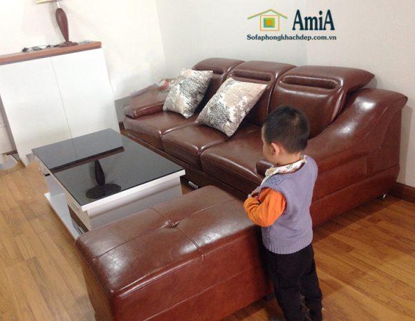 Hình ảnh sofa văng da đẹp Hà Nội kích thước nhỏ xinh cho nhà nhỏ, phòng khách nhỏ
