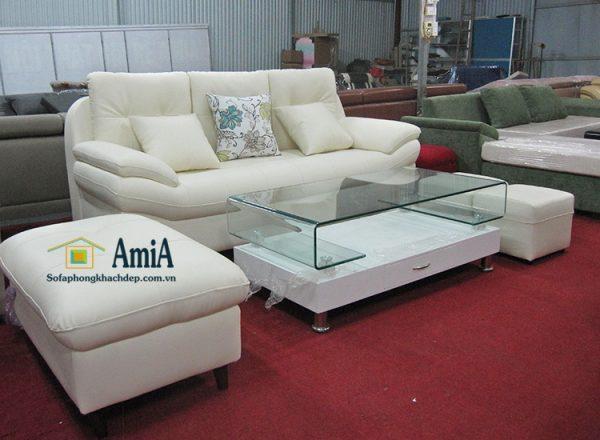 Hình ảnh Ghế sofa văng da đẹp phòng khách kích thước nhỏ xinh cho phòng khách nhỏ