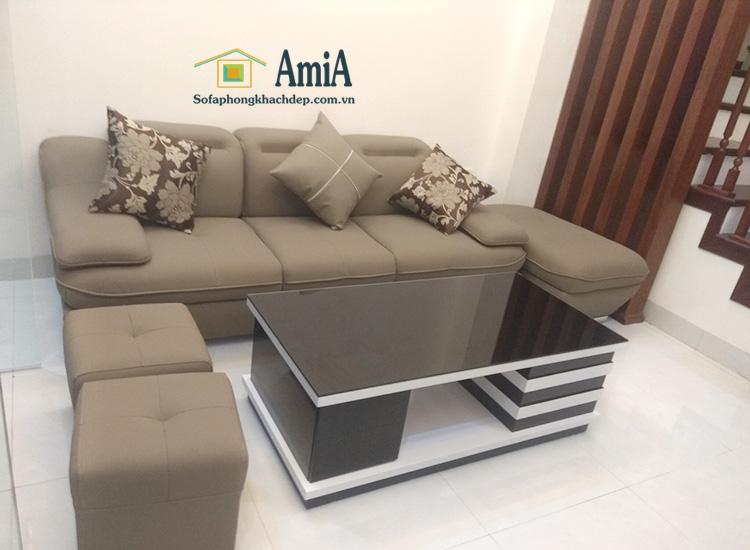 Hình ảnh Ghế sofa văng da đẹp hiện đại cho phòng khách gia đình, hình ảnh thực tế