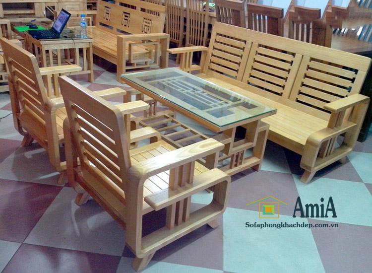 Hình ảnh Mẫu bàn ghế sofa gỗ đẹp hiện đại giá rẻ cho phòng khách đẹp