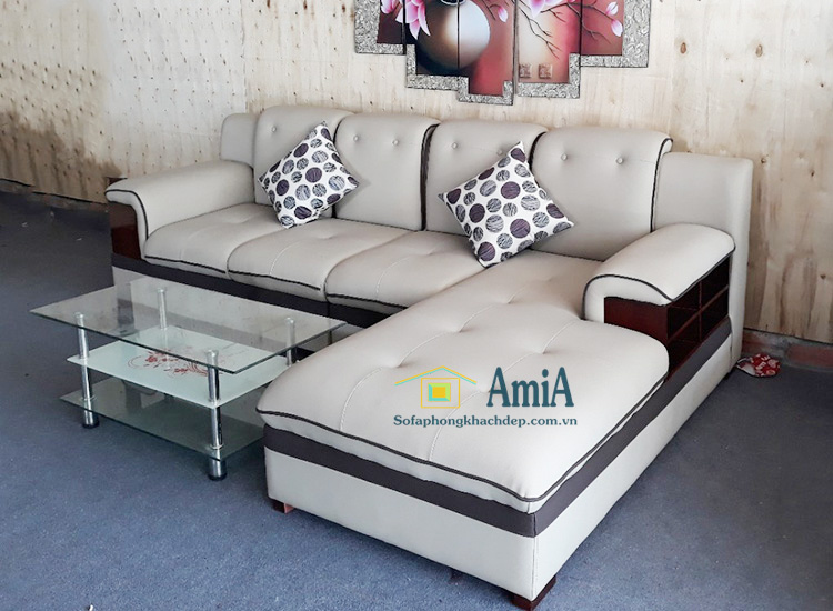 Hình ảnh Mẫu ghế sofa da đẹp phòng khách kiểu dáng chữ L