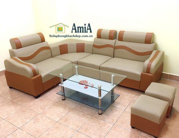 Hình ảnh Mẫu ghế sofa da góc nhỏ giá rẻ đẹp hiện đại tại Nội thất AmiA