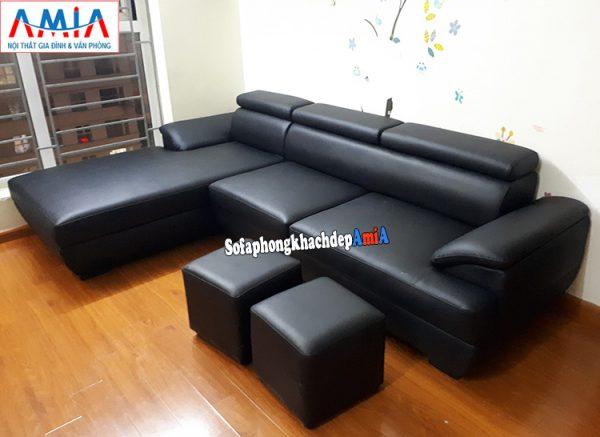 Hình ảnh Mẫu ghế sofa da phòng khách đẹp hình chữ L 3 chỗ hiện đại