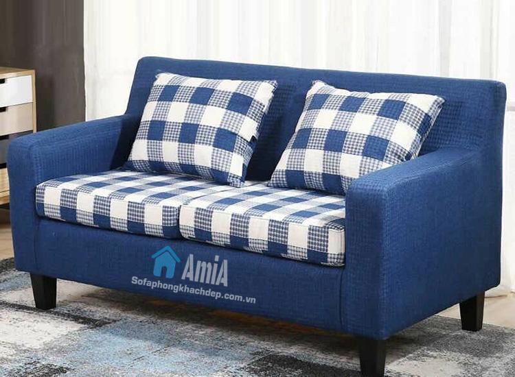 Hình ảnh Mẫu ghế sofa nỉ văng 2 chỗ màu xanh hiện đại