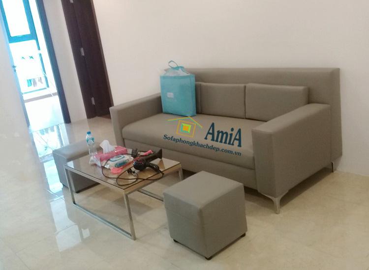 Hình ảnh Mẫu ghế sofa văng da cho chung cư hiện đại