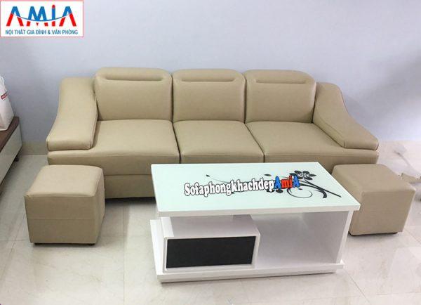Hình ảnh Mẫu ghế sofa văng da đẹp hiện đại thiết kế 3 chỗ ngồi cho phòng khách nhỏ, nhà nhỏ, nhà chung cư