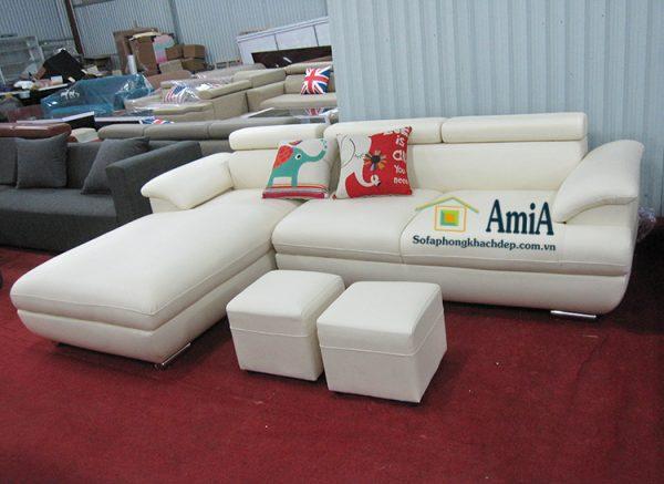 Hình ảnh sofa da đẹp phòng khách hiện đại màu trắng thiết kế hình chữ L