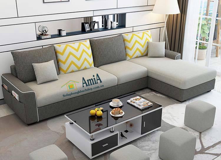 Hình ảnh Mẫu sofa nỉ đẹp phòng khách thiết kế hình chữ L cho phòng khách gia đình