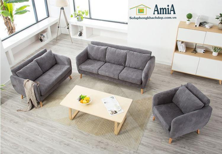 Hình ảnh Sofa văng đẹp cho phòng khách kết hợp cùng ghế sofa đơn và bàn trà