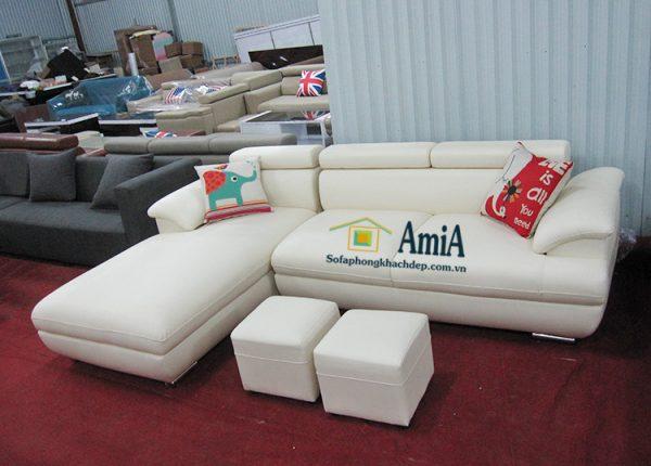 Hình ảnh Sofa da cho phòng khách hiện đại thiết kế hình chữ L độc đáo