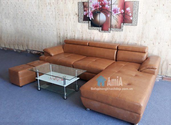 Hình ảnh Sofa da chữ L phòng khách đẹp hiện đại và sang trọng