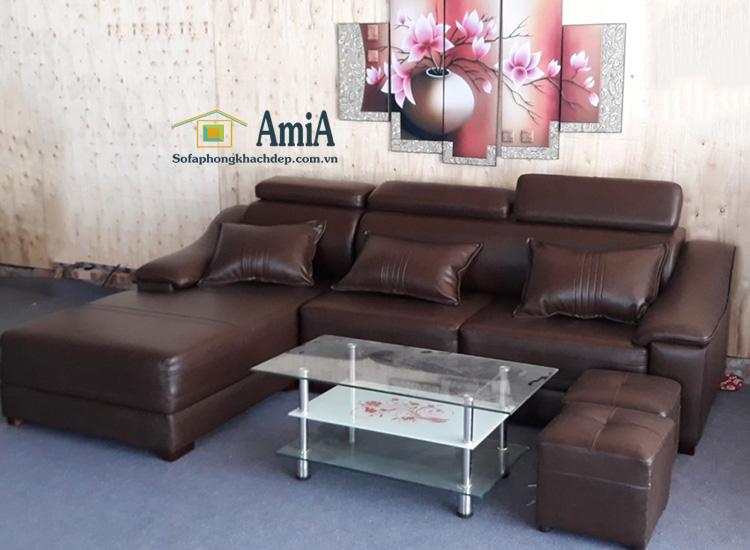 Hình ảnh Sofa da đẹp hình chữ L 3 chỗ hiện đại và sang trọng tại AmiA