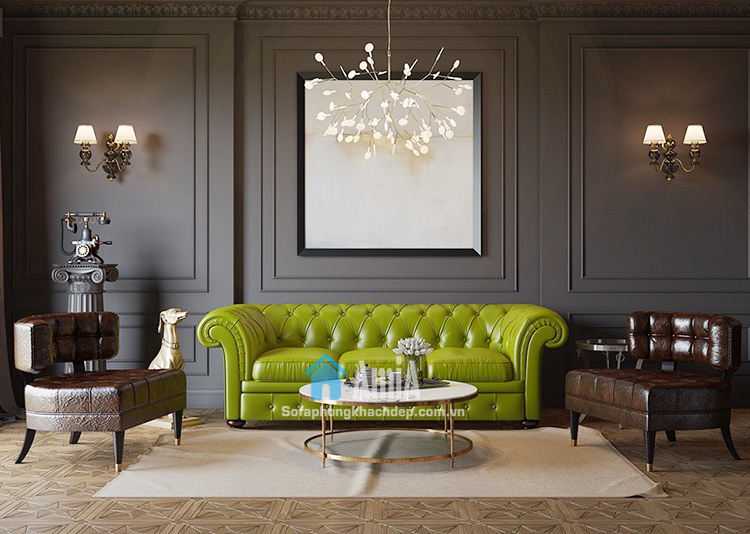 Hình ảnh Sofa da kiểu văng hiện đại thiết kế rút khuy