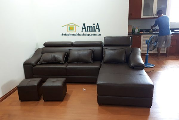 Hình ảnh Ghế sofa da phòng khách đẹp với hình ảnh thực tế tại nhà khách hàng