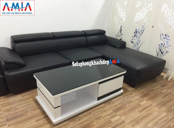 Hình ảnh Ghế sofa da phòng khách đẹp chung cư hiện đại