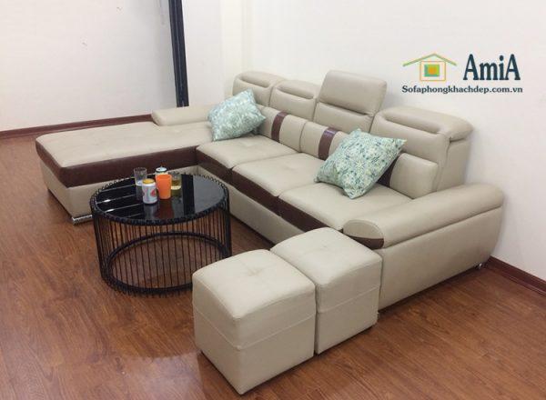 Hình ảnh Sofa da phòng khách đẹp hiện đại cho nhà chung cư