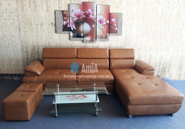 Hình ảnh sofa da chữ L phòng khách đẹp tại AmiA